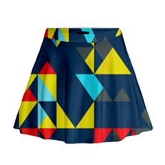 Colorful Shapes On A Blue Background                                          Mini Flare Skirt