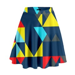 Colorful shapes on a blue background                                          High Waist Skirt