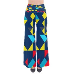 Colorful shapes on a blue background                       Women s Chic Palazzo Pants