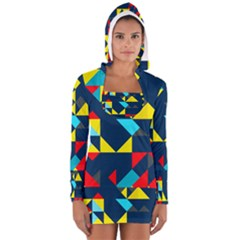 Colorful shapes on a blue background                                        Women s Long Sleeve Hooded T-shirt