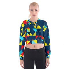 Colorful shapes on a blue background                                          Women s Cropped Sweatshirt