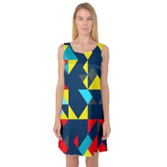 Colorful shapes on a blue background                                        Sleeveless Satin Nightdress
