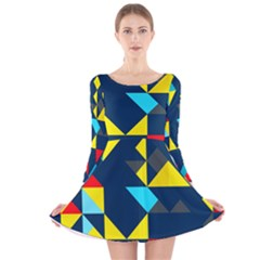 Colorful shapes on a blue background                                        Long Sleeve Velvet Skater Dress
