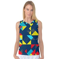 Colorful Shapes On A Blue Background                                        Women s Basketball Tank Top