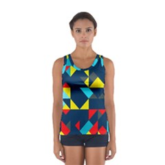 Colorful shapes on a blue background                                        Women s Sport Tank Top