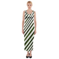 Diagonal Stripes Fitted Maxi Dress