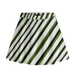 Diagonal Stripes Mini Flare Skirt