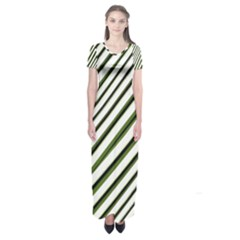 Diagonal Stripes Short Sleeve Maxi Dress