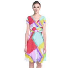 Watercolors Shapes        Short Sleeve Front Wrap Dress