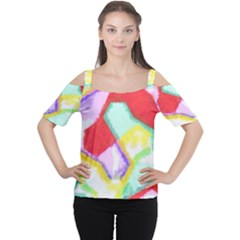 Watercolors Shapes                                         Women s Cutout Shoulder Tee
