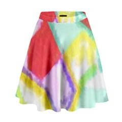 Watercolors shapes                                           High Waist Skirt