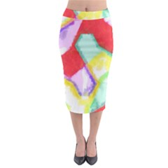 Watercolors shapes                                           Midi Pencil Skirt