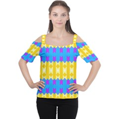 Rhombus And Other Shapes Pattern                                          Women s Cutout Shoulder Tee