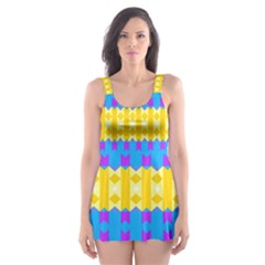 Rhombus and other shapes pattern                                          Skater Dress Swimsuit