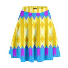 Rhombus and other shapes pattern                                            High Waist Skirt