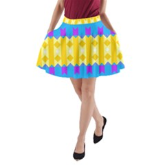Rhombus and other shapes pattern                                          A-Line Pocket Skirt