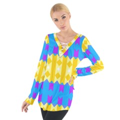 Rhombus And Other Shapes Pattern                                           Women s Tie Up Tee
