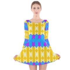 Rhombus and other shapes pattern                                          Long Sleeve Velvet Skater Dress