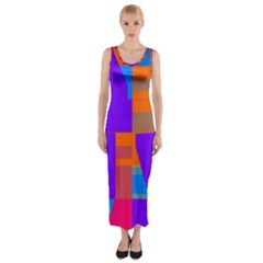 Misc Colorful Shapes                                           Fitted Maxi Dress