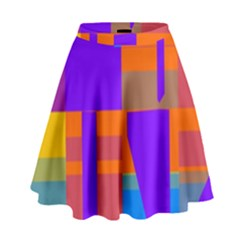 Misc colorful shapes                                             High Waist Skirt