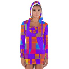 Misc colorful shapes                                           Women s Long Sleeve Hooded T-shirt