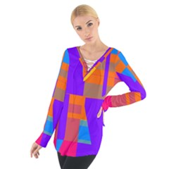 Misc Colorful Shapes                                            Women s Tie Up Tee