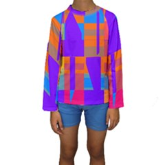 Misc Colorful Shapes                                            Kid s Long Sleeve Swimwear