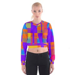 Misc colorful shapes                                             Women s Cropped Sweatshirt