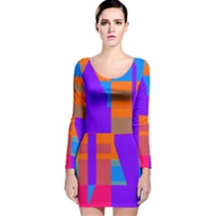 Misc colorful shapes                                           Long Sleeve Velvet Bodycon Dress
