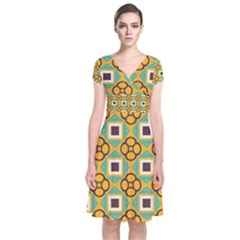 Flowers and squares pattern           Short Sleeve Front Wrap Dress