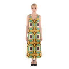 Flowers and squares pattern                                            Full Print Maxi Dress