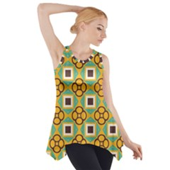Flowers and squares pattern                                            Side Drop Tank Tunic