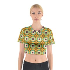 Flowers and squares pattern                                            Cotton Crop Top