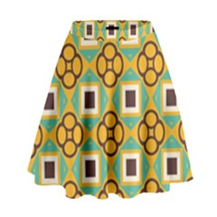 Flowers And Squares Pattern                                              High Waist Skirt