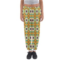 Flowers and squares pattern                                            Women s Jogger Sweatpants