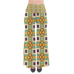 Flowers and squares pattern                           Women s Chic Palazzo Pants