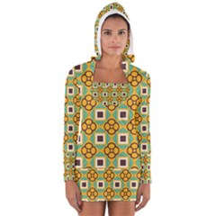 Flowers and squares pattern                                            Women s Long Sleeve Hooded T-shirt