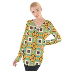 Flowers and squares pattern                                             Women s Tie Up Tee