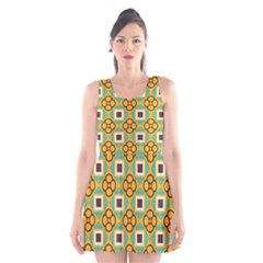 Flowers and squares pattern                                            Scoop Neck Skater Dress
