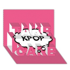 Comic Book Think Kpop Pink TAKE CARE 3D Greeting Card (7x5)