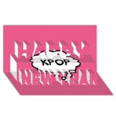 Comic Book Think Kpop Pink Happy New Year 3D Greeting Card (8x4)