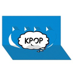 Comic Book Kpop Blue Twin Hearts 3D Greeting Card (8x4)