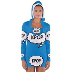 Comic Book Kpop Blue Women s Long Sleeve Hooded T Shirt