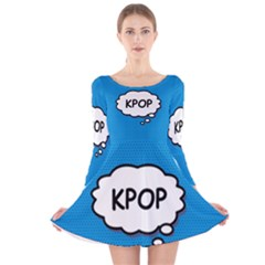 Comic Book Kpop Blue Long Sleeve Velvet Skater Dress