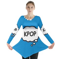 Comic Book Kpop Blue Long Sleeve Tunic