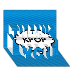 Comic Book Kpop Blue THANK YOU 3D Greeting Card (7x5)