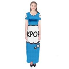 Comic Book Kpop Blue Short Sleeve Maxi Dress