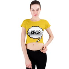 Comic Book Kpop Orange Crew Neck Crop Top