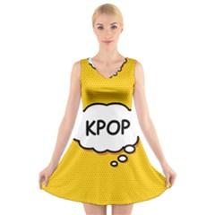 Comic Book Kpop Orange V-Neck Sleeveless Skater Dress