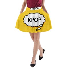 Comic Book Kpop Orange A-Line Pocket Skirt